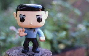 A Spock figurine showing his signature hand sign