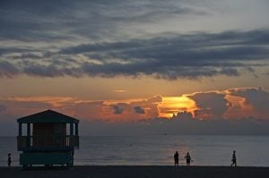 Miami Beach, people at the beach, sunset