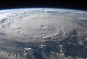 A picture of a hurricane taken from outer space.