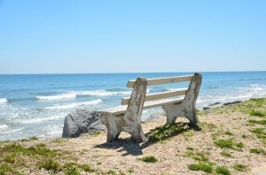 A bench on a Florida beach.