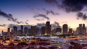 Panoramic view of sunset in Miami