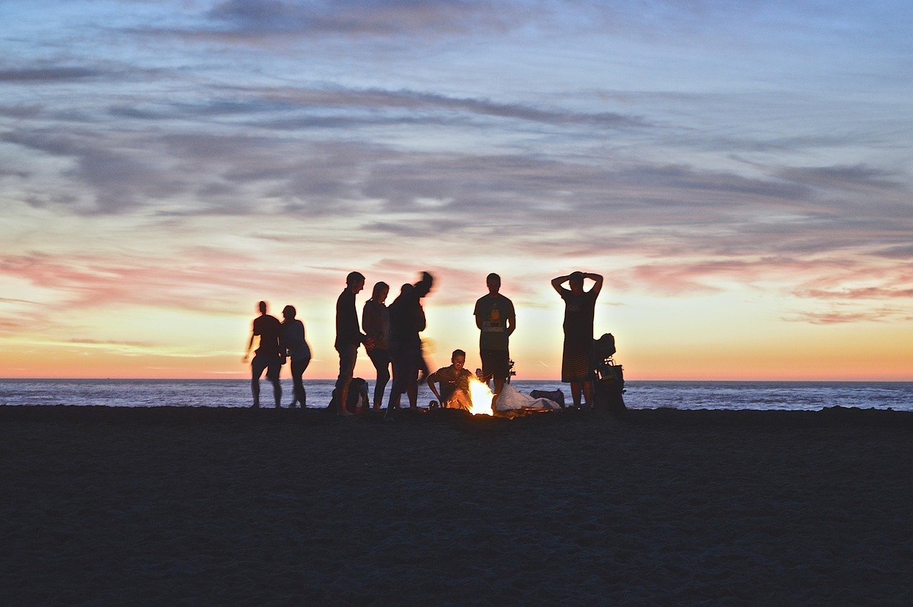 Picture of a campfire on the beach