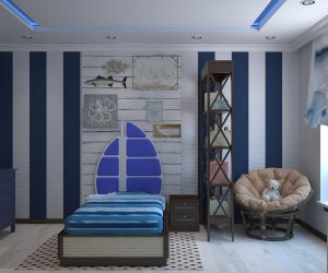 Nautical themed boy's room.