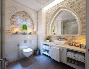 Modern, white and beige bathroom