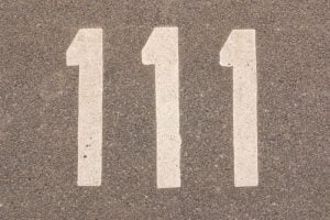Numbers on a pavement.