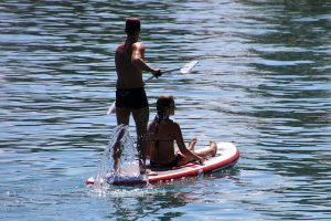 Paddleboard family fun on the sea