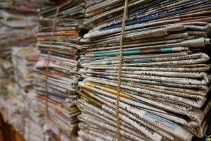 Bundles of old newspapers.