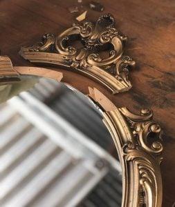 A broken vintage mirror.