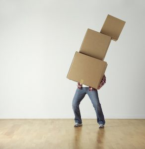 A man with moving boxes.