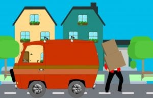 Illustration of a man carrying boxes in a truck