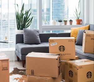 cardboard boxes in the living room