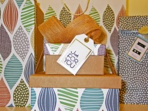 boxes with gfts and a note that says just for you