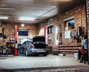 gray car in a garage