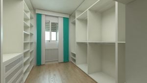 an empty white walk in wardrobe with green curtains
