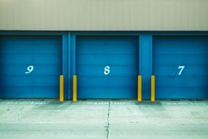 storage units with blue doors