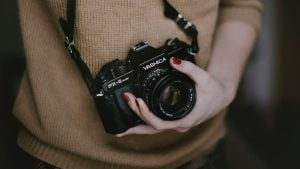 Picture of a girl holding a camera