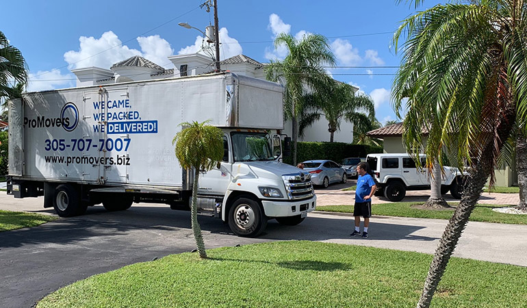Our moving truck in front of the house of a client.