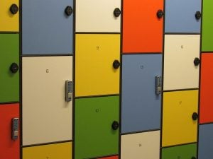 lockers in various colors are an option if you decide to rent a storage unit in Miami