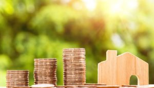 coins and a wooden miniature of a house with green background