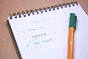 A picture of a to do list that lists 1. wake up, 2. coffee, 3. the rest...