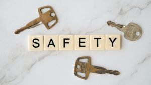 keys and letters spelling 'safety'