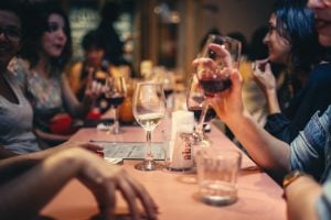 people drinking at a table