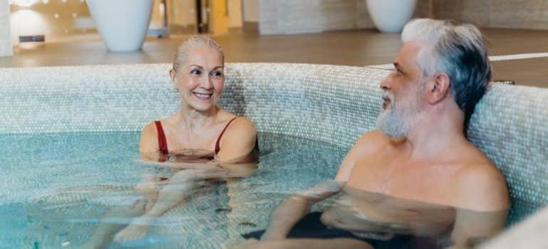 People enjoying in a hot tub