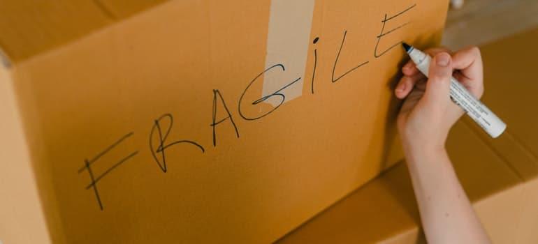 Hand writing on a box.