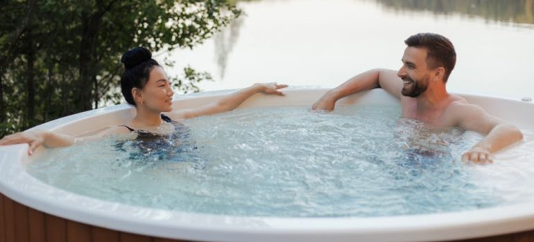 People in a hot tub