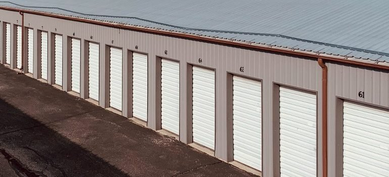 several storage units in a row