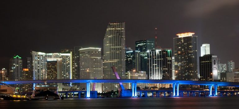 Downtown Miami at night, the home of movers Downtown Miami