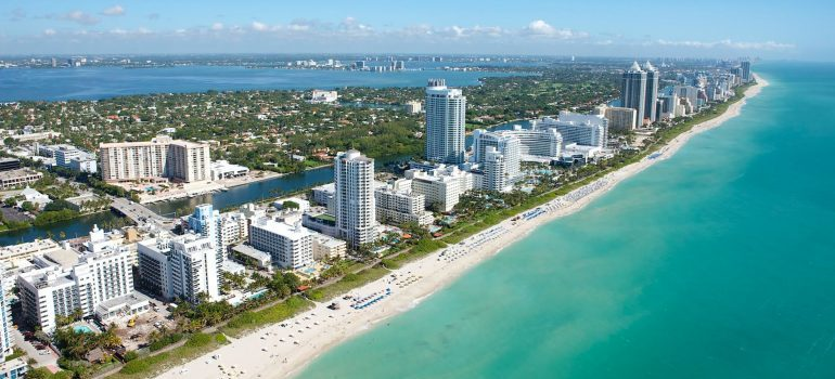 Aerial view of Miami: White Glove movers coconut grove are here to help you relocate